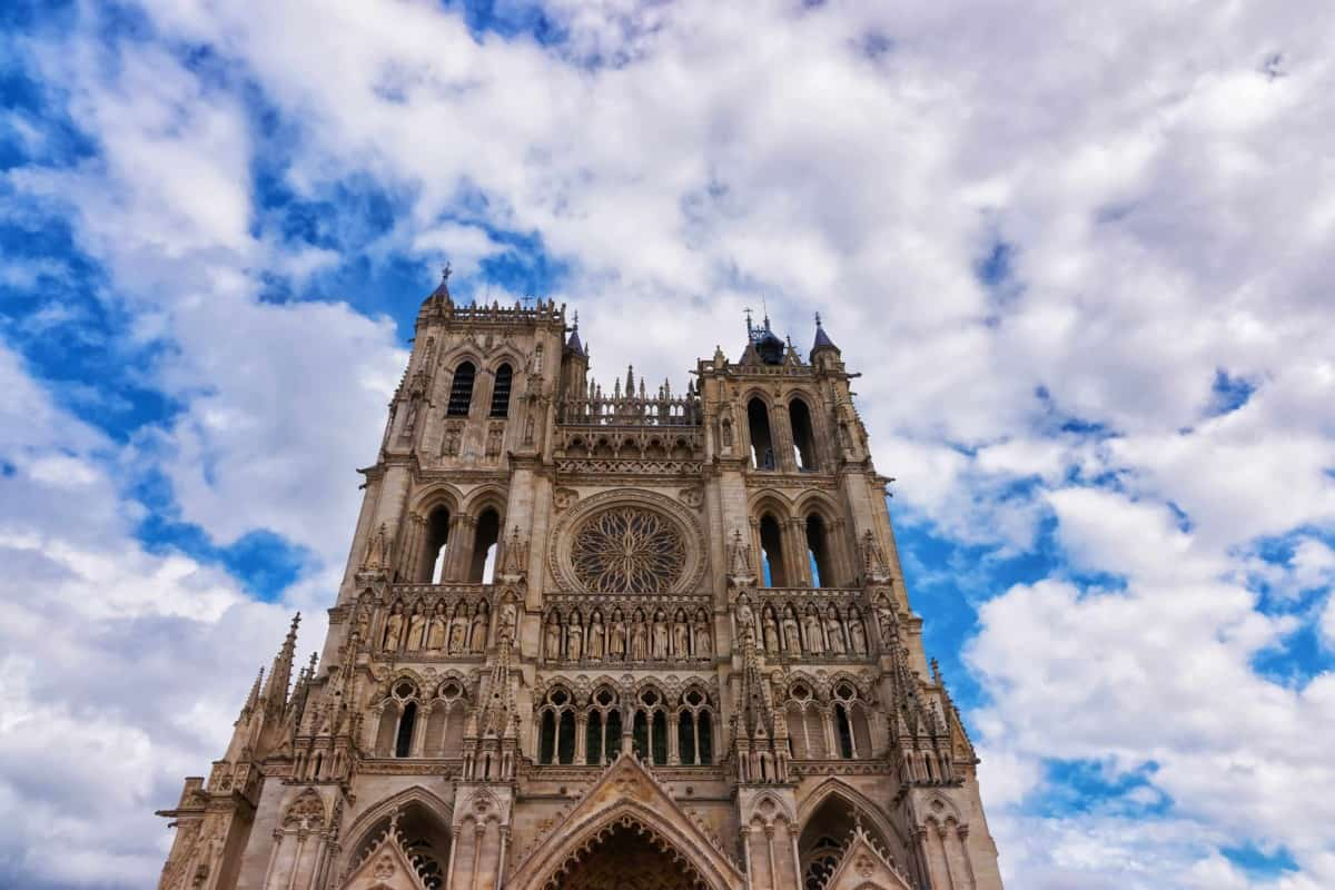 View Amiens Cathedral on a sky background